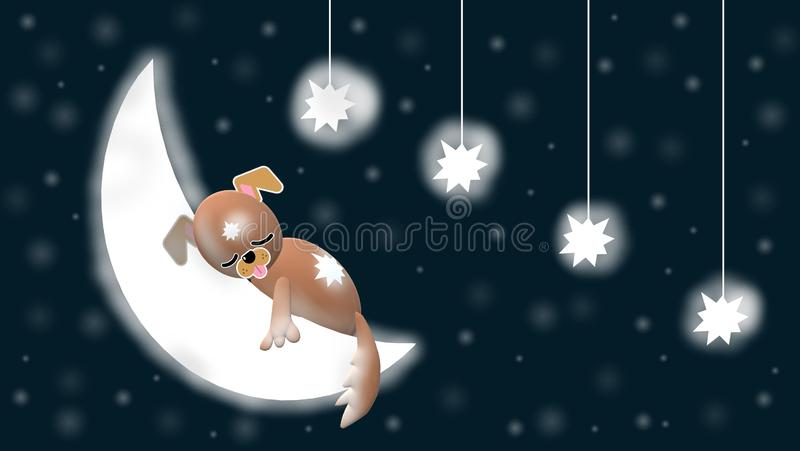Evening sky with sweet dog 3D, moon, stars and blue, starry background. The evening sky with moon, stars, sweet dog for babies, children, animation of lullaby stock illustration