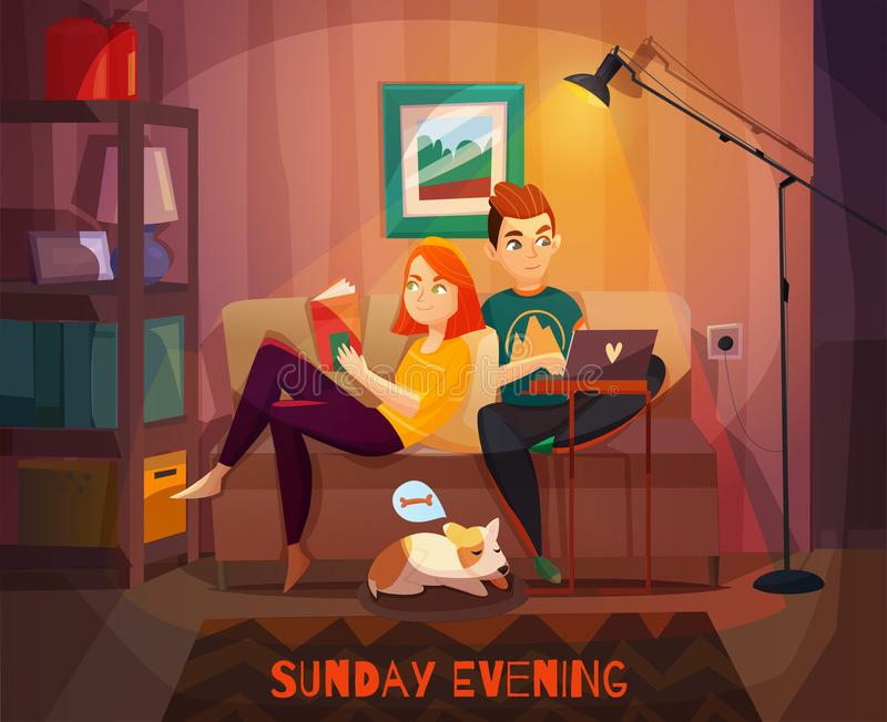 Evening Spoczynkowy pary ilustracja ilustracja wektor