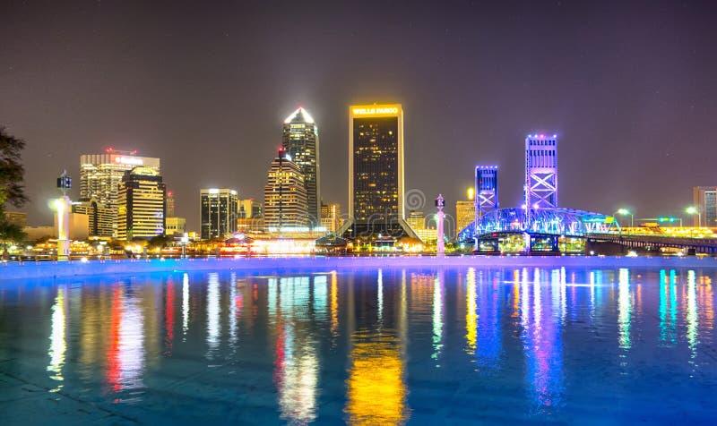 Evening on St John's River and Jacksonville Florida skyline royalty free stock photo