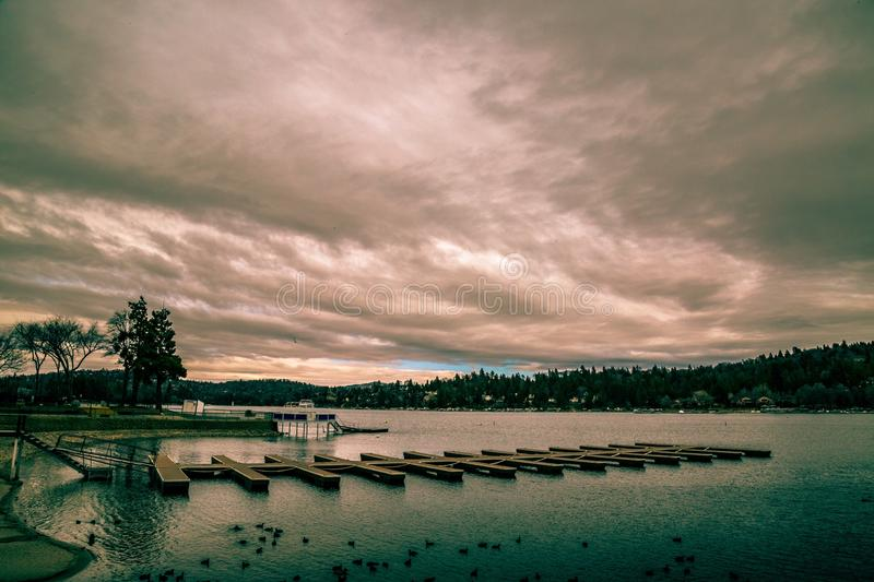 Arrowhead lake. A evening storm casts over lake arrowhead in late winter royalty free stock images