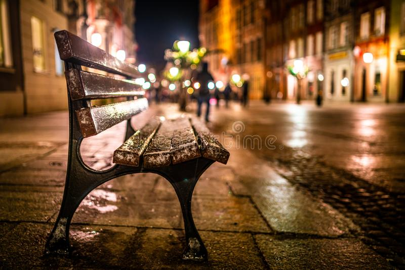 Evening street with benches and lanterns. Night European city. Image of Evening street with benches and lanterns. Night European city, town, light, park, road royalty free stock photography