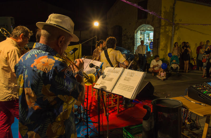 Evening street music band playing royalty free stock photo