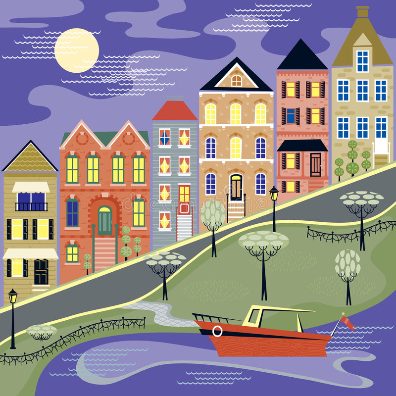 Download Evening Street And Water Scene Stock Vector - Image: 8484377