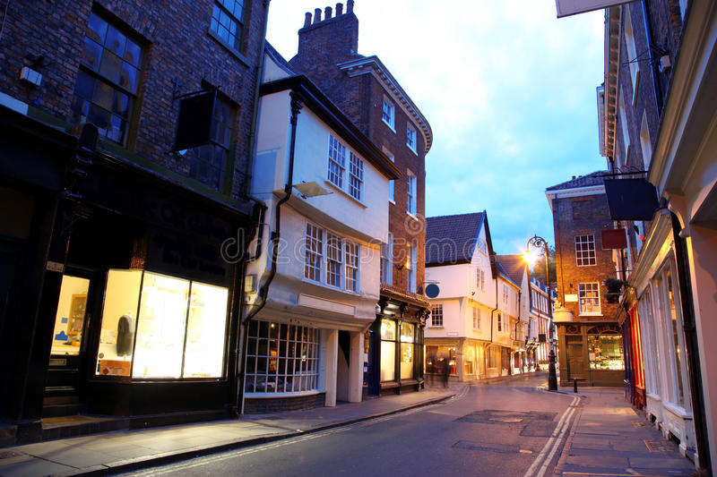 Download Evening street in York stock photo. Image of shop, illumination - 25196102