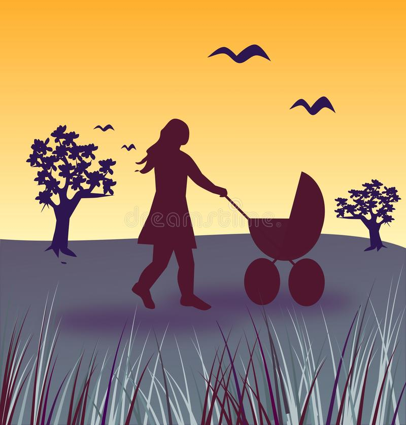 Download Evening Stroll With Baby Buggy Stock Illustration - Image: 26363642
