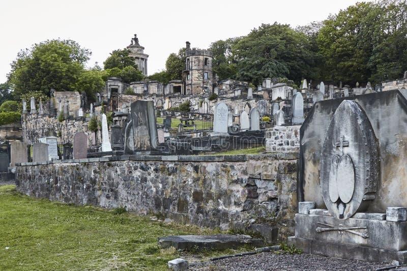 Evening strzał Nowy Calton miejsce pochówku w Edynburg, Szkocja, Zjednoczone Królestwo obrazy stock