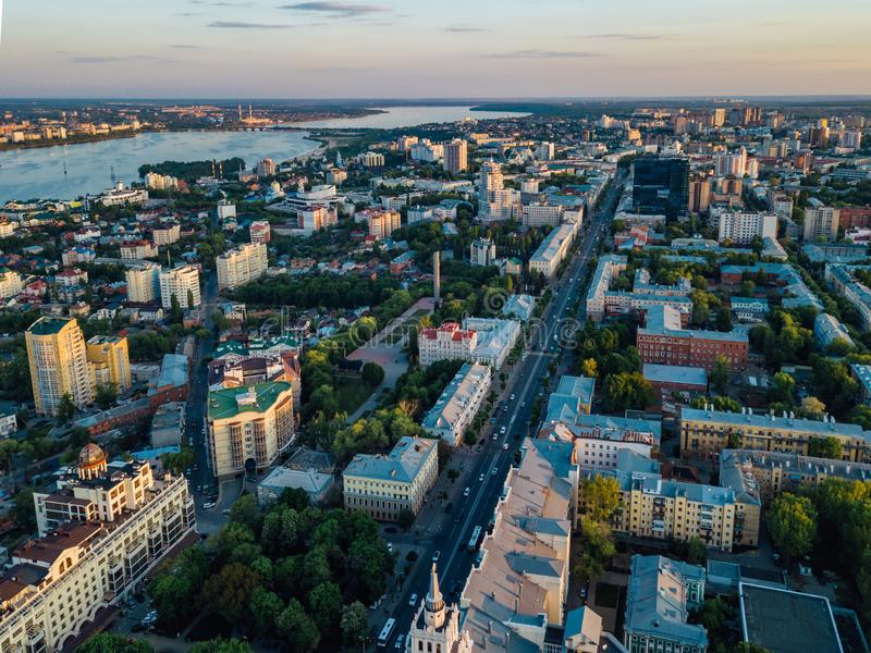 Evening summer Voronezh skyline, aerial view from drone.  royalty free stock photos
