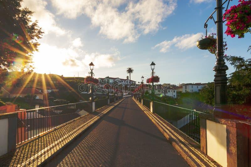 Bridge in Nordeste town, Sao Miguel island, Azores with sun burst and flares stock photos