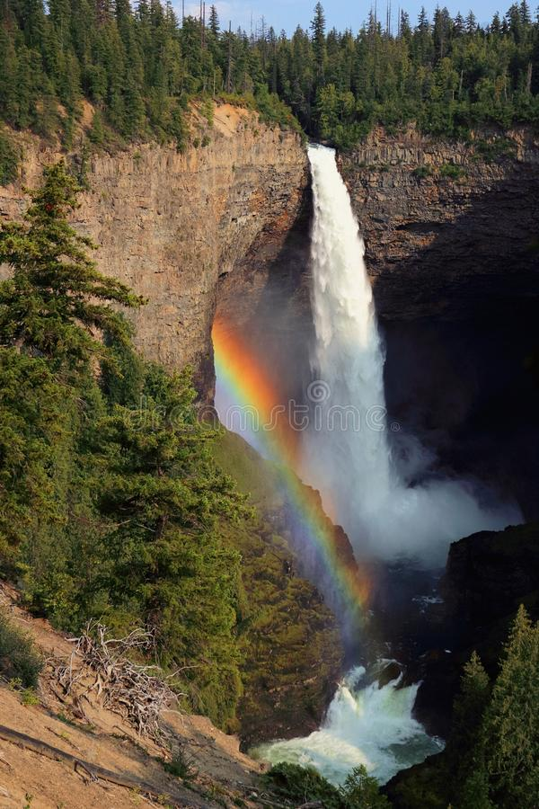 Beautiful Rainbow at Helmcken Falls in the Cariboo Mountains, Wells Gray Provincial Park, British Columbia, Canada royalty free stock photos
