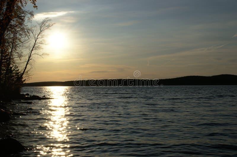 Evening sun on the lake stock photos