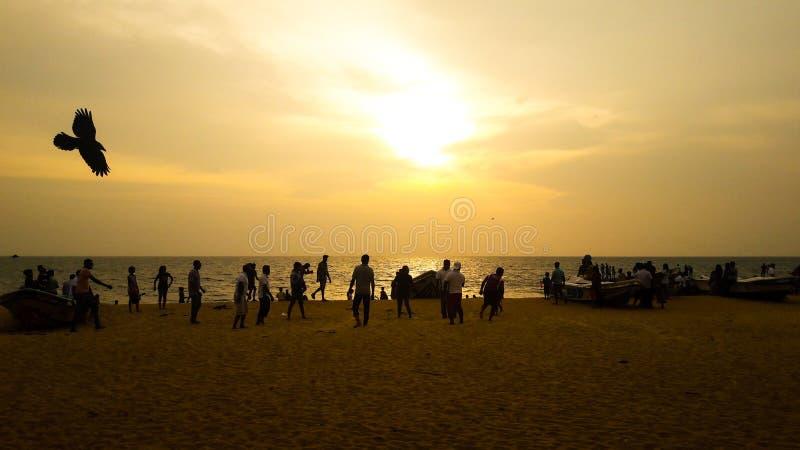 Evening sun set at maravila beach srilanka royalty free stock image