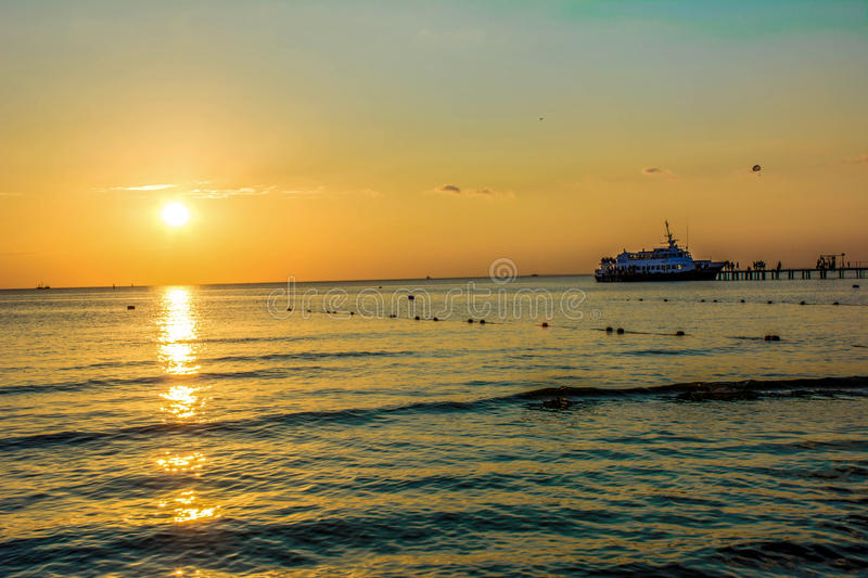 The evening sunset on the black sea royalty free stock photography