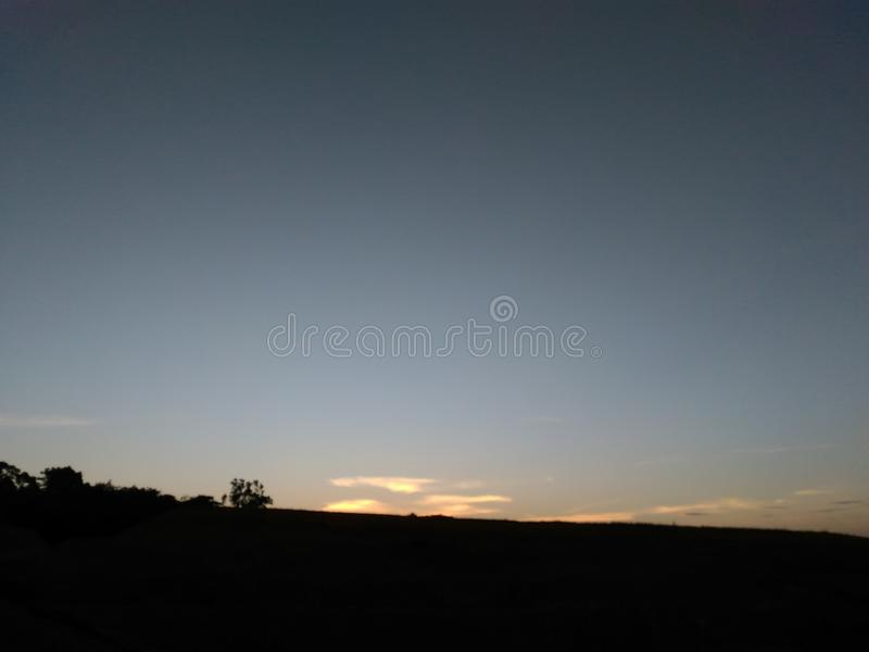 Evening Sunset At Hill stock photo