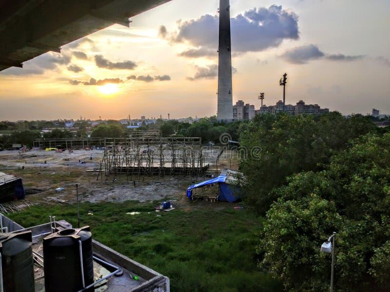 Evening sunset in an urban life stock photos