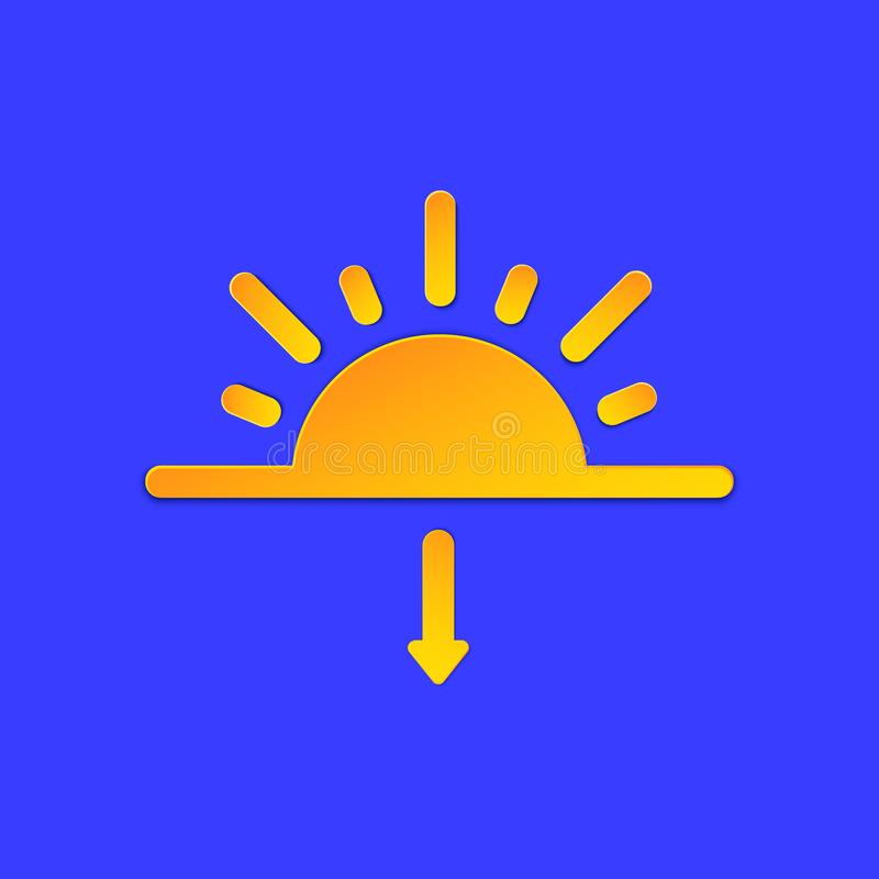 Evening Sunset Weather forecast info icon. Sun and arrow symbol paper cut style on blue. Climate weather element. Trendy. Button for Metcast WF report mark royalty free illustration