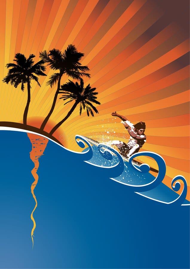evening surfer vector vector illustration