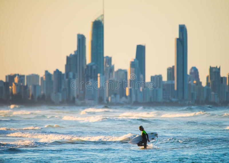 Evening Surfing in Gold Goast, Australia stock images