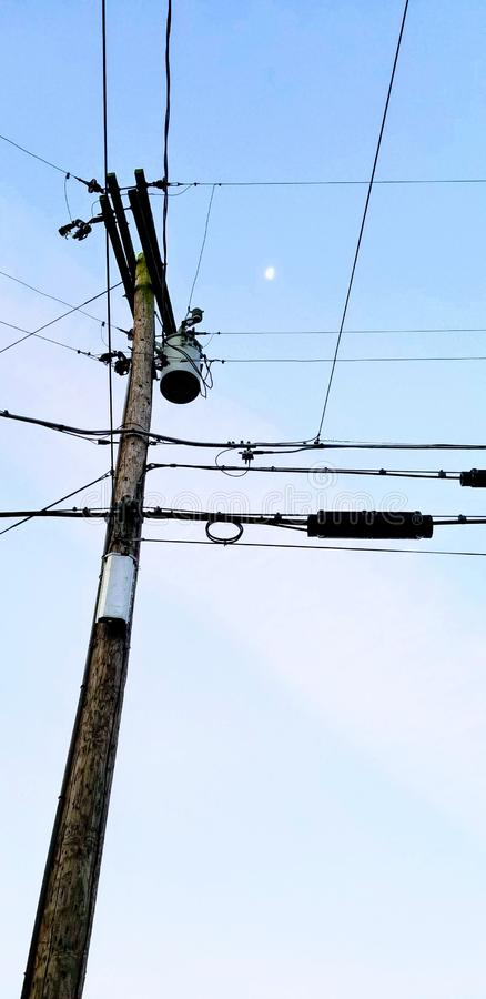 Evening Telephone Pole. Dusk, bluesky royalty free stock photography