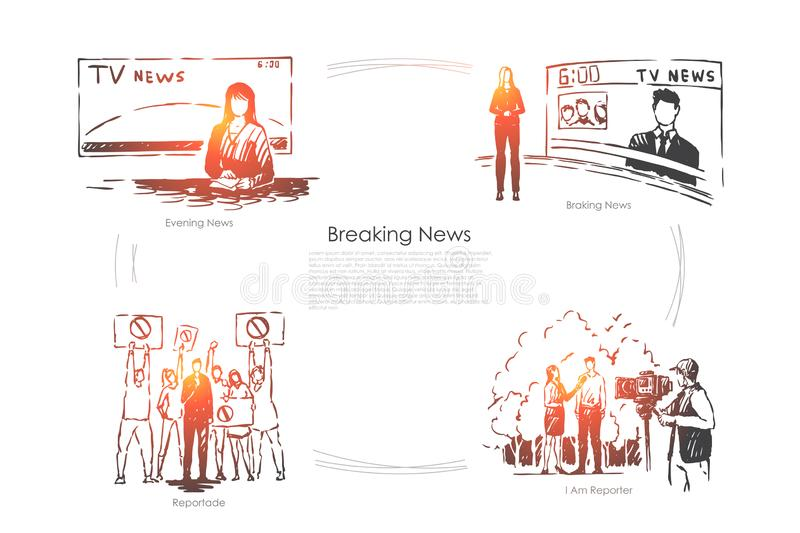 Evening television program, female newscaster, reporter taking interview, mass media press banner. Journalist profession, breaking news broadcasting concept royalty free illustration