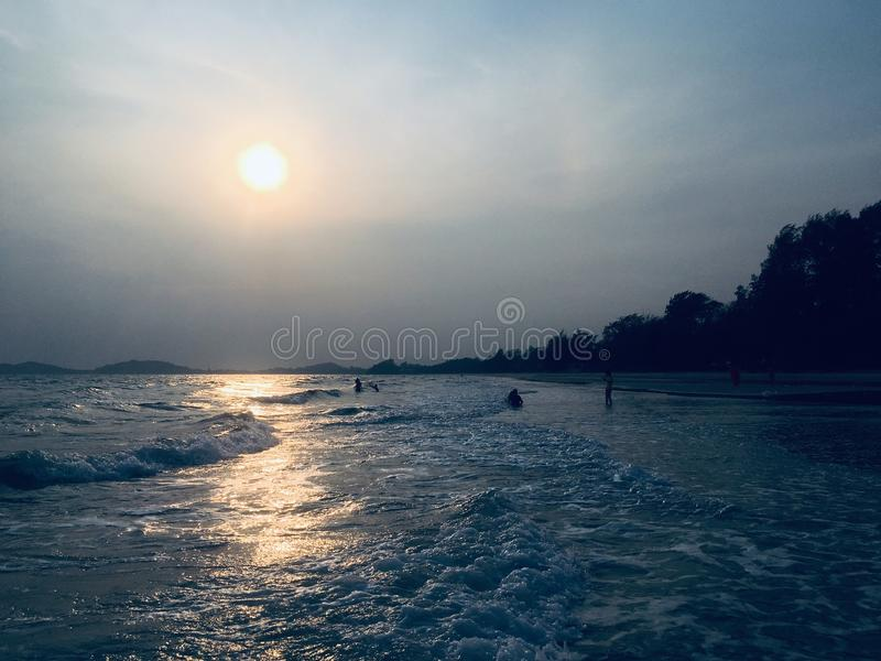 Evening time. The special of evening time during the sun is rising at Lam Maepim, Rayong, Thailand royalty free stock photography