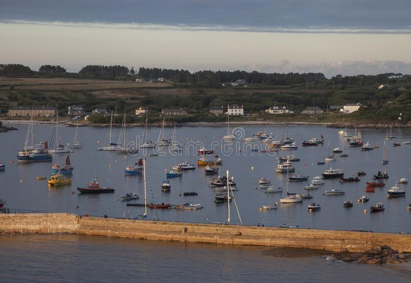 Evening time at St Mary's Harbour, Isles of Scilly, England.  royalty free stock image