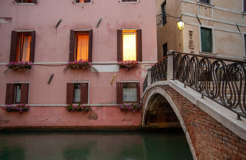 Evening time at Venice. Italy. Windows at evening time. Venice. Italy royalty free stock photography