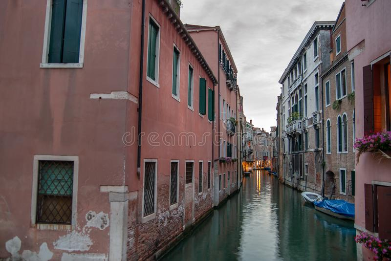 Evening time at Venice. Italy. Small canal. Evening time at Venice. Italy stock photo