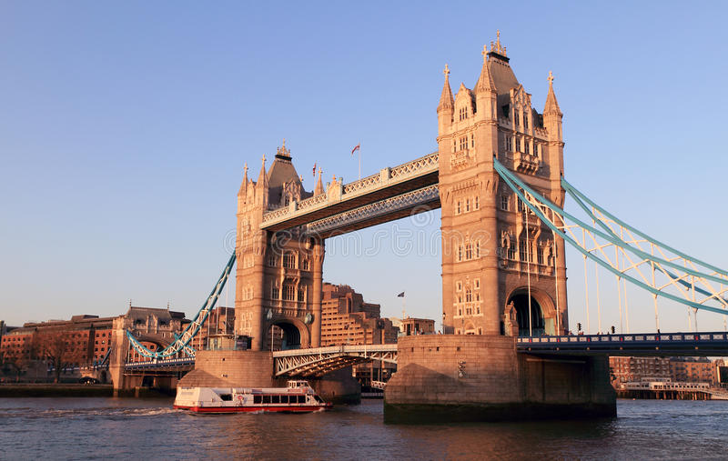 Evening at Tower bridge stock images