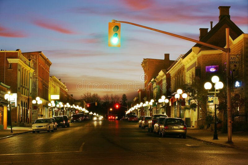 Evening Town. Beautiful HDR scene of a small town at night stock images