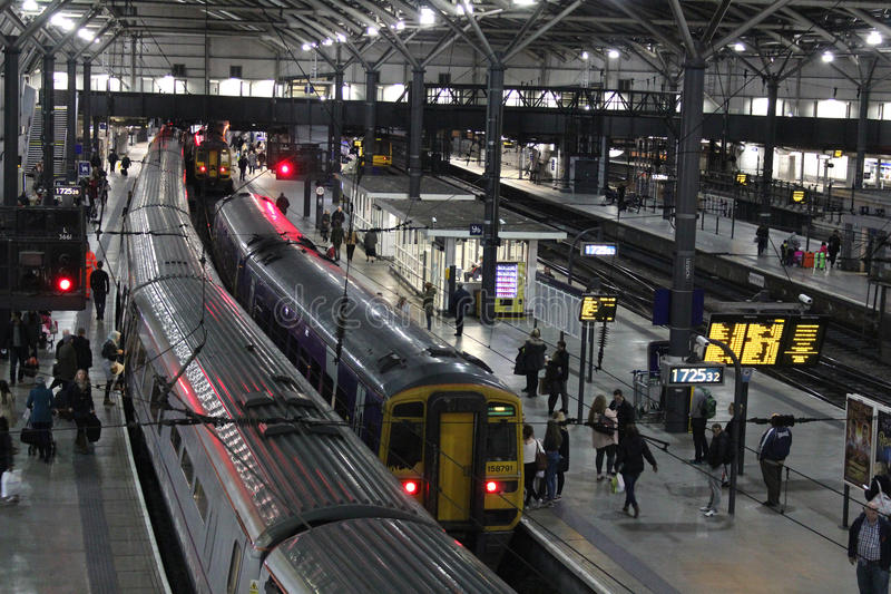 Evening trains in Leeds railway station royalty free stock photo