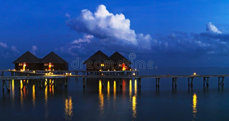 Evening at tropical resort stock image