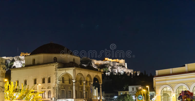 Evening view of the Acropolis monument from Monastiraki Square, royalty free stock image