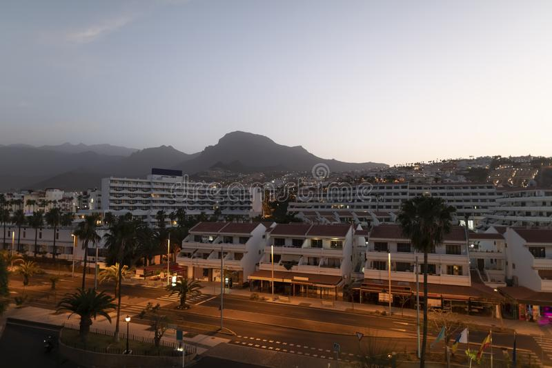 Evening view of Adeje of Tenerife royalty free stock photo
