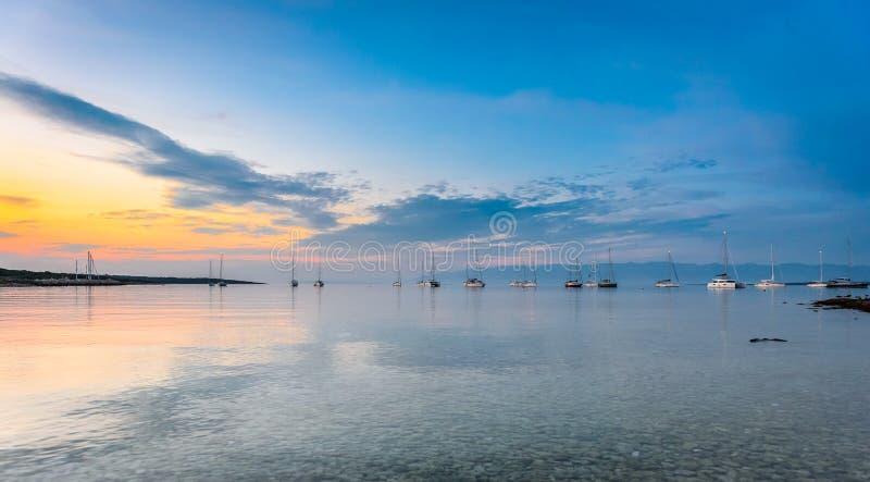 Evening view of amazing Sotorisce bay and beach Silba, Croatia royalty free stock photo