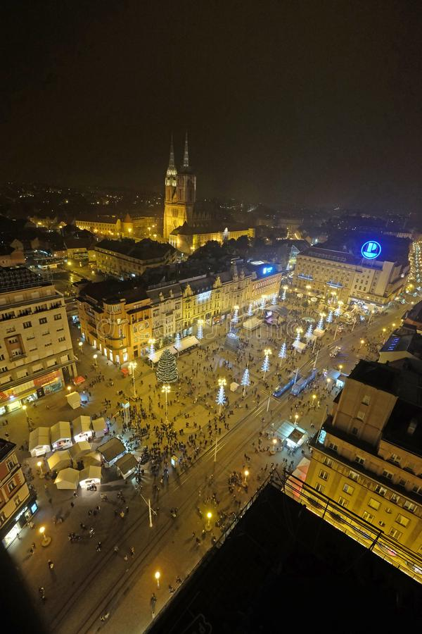 Evening view of Ban Jelacic square decorated with Christmas lights in Zagreb. Croatia stock photos