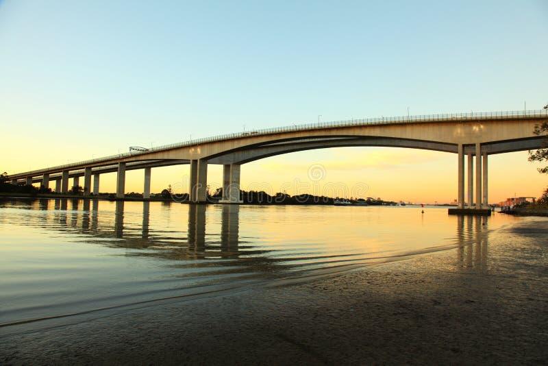 Evening view of Brisbane Gateway Bridge royalty free stock photography