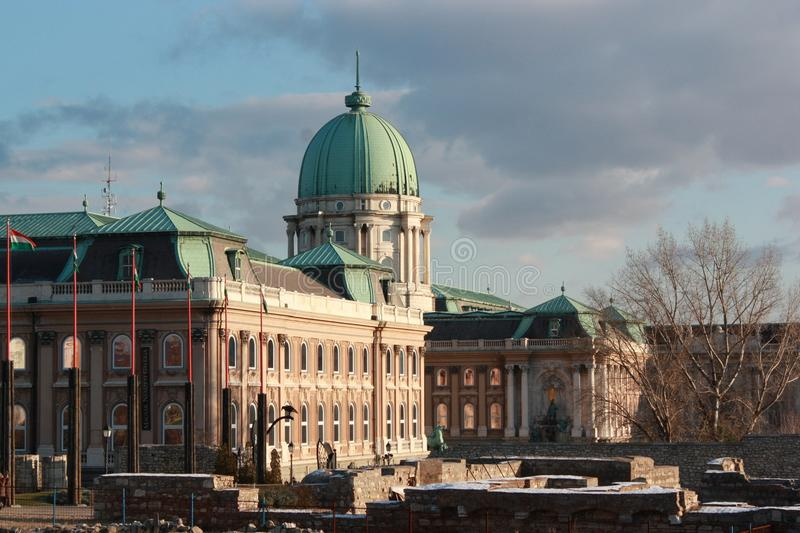 An evening view of Buda Castle (palace) royalty free stock images