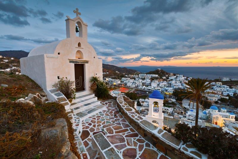 Chora, Ios. Evening view of the Chora village on Ios island, Greece royalty free stock photo