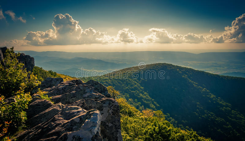 Evening view from cliffs on Hawksbill Summit, in Shenandoah National Park, Virginia. royalty free stock photography