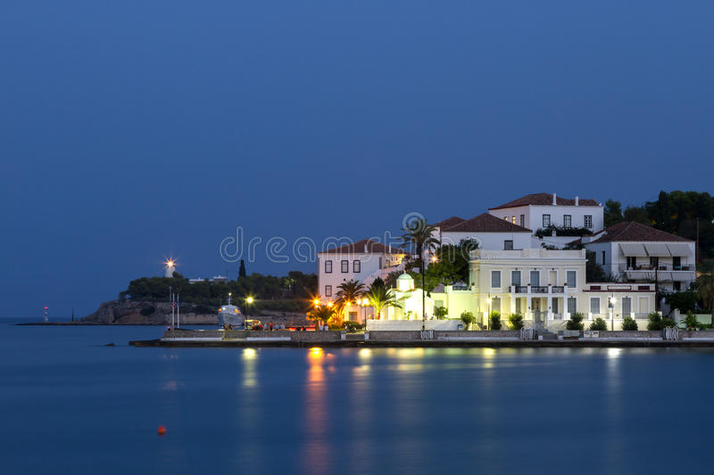 Evening view of a coastal town in Greece. stock photography