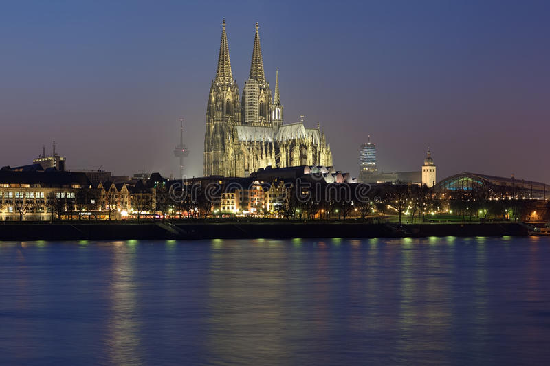Evening view of Cologne Cathedral, Germany royalty free stock photography