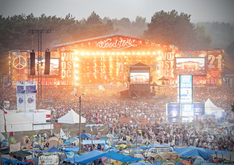 Evening view of concert on main stage and tents. Kostrzyn nad Odra, Poland - August 1, 2015: Evening view of concert on main stage and tents at the 21th stock photos