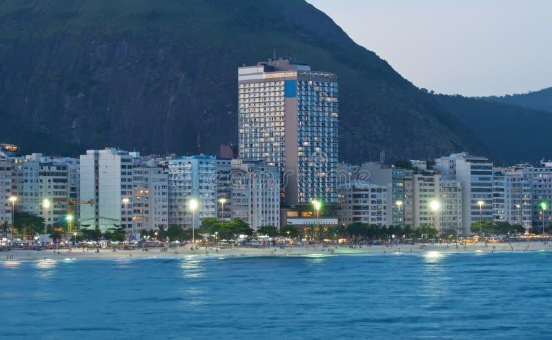 Evening view of Copacabana beach in Rio de Janeiro royalty free stock photography