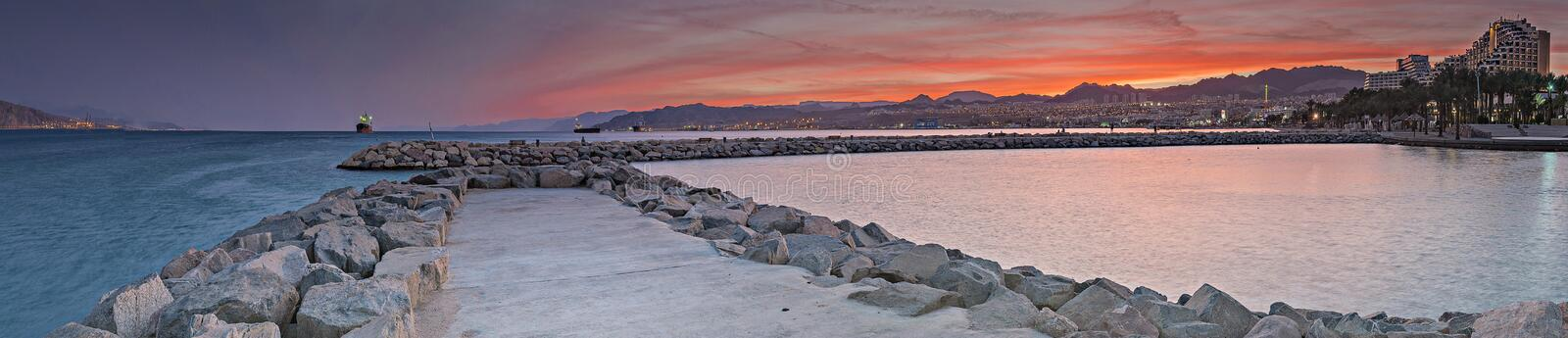 Evening view on Eilat and the Red sea, Israel stock photography