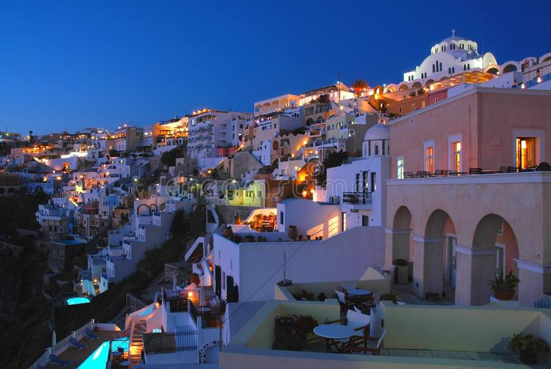 Evening view of Fira, the main town on the island of Santorini, Greece. Evening view of Fira on the island of Santorini, Greece. Fira is the main town of royalty free stock photo