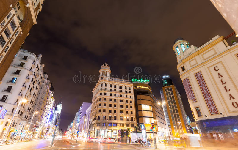 Evening view of Gran Via in Madrid, Spain stock photos