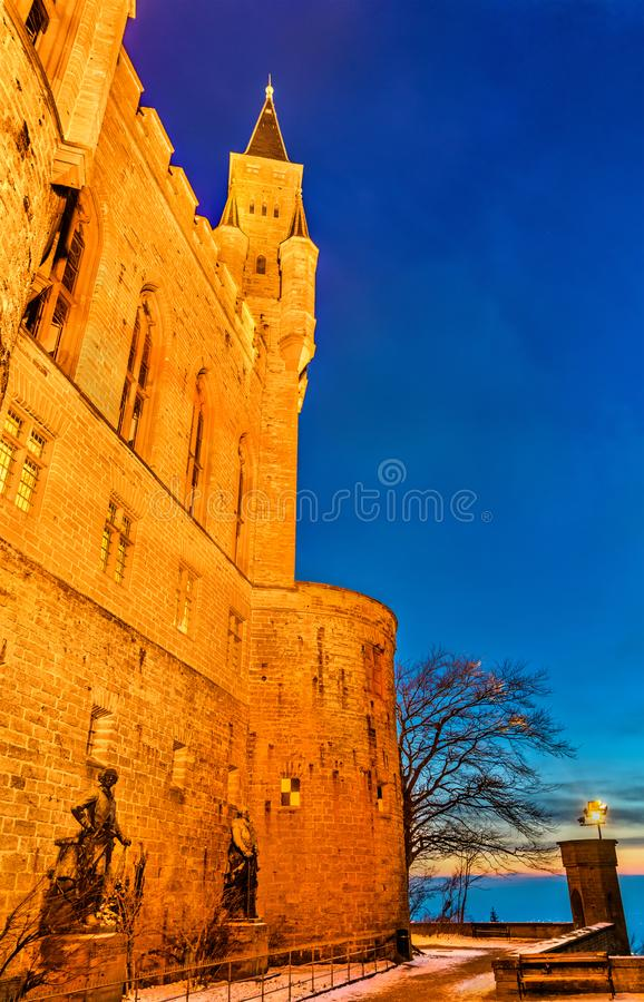 Evening view of Hohenzollern Castle in Germany. Evening view of Hohenzollern Castle in Baden-Wurttemberg, Germany royalty free stock photos