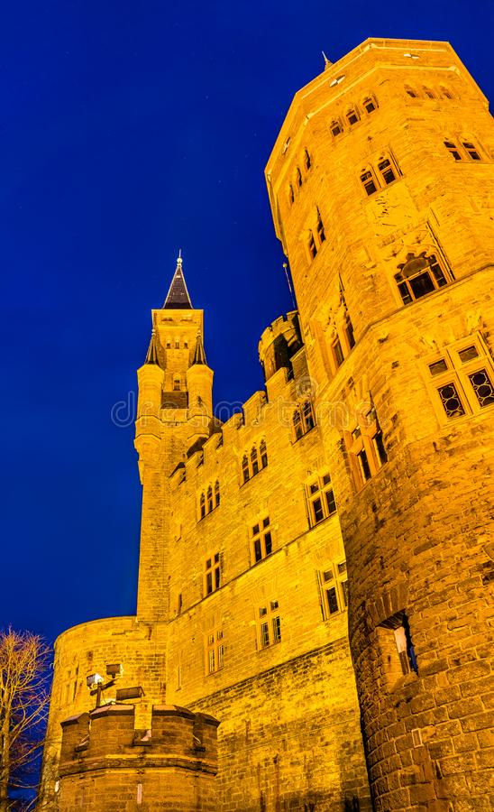 Evening view of Hohenzollern Castle in Germany. Evening view of Hohenzollern Castle in Baden-Wurttemberg, Germany royalty free stock photo