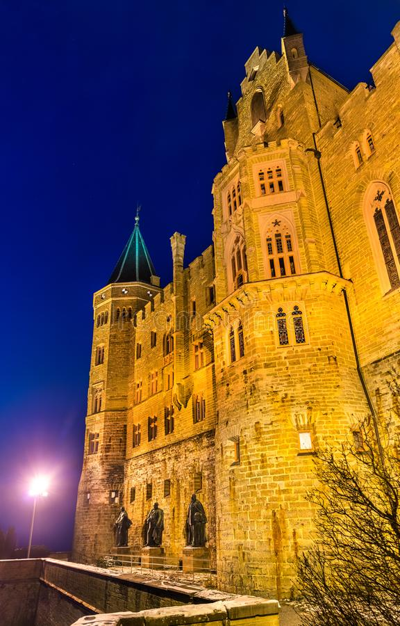 Evening view of Hohenzollern Castle in Germany. Evening view of Hohenzollern Castle in Baden-Wurttemberg, Germany royalty free stock images