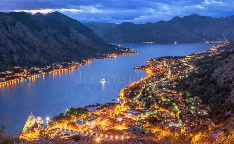 Evening View Kotor Bay Montenegro. Evening view of the Kotor Bay in Montenegro stock photo